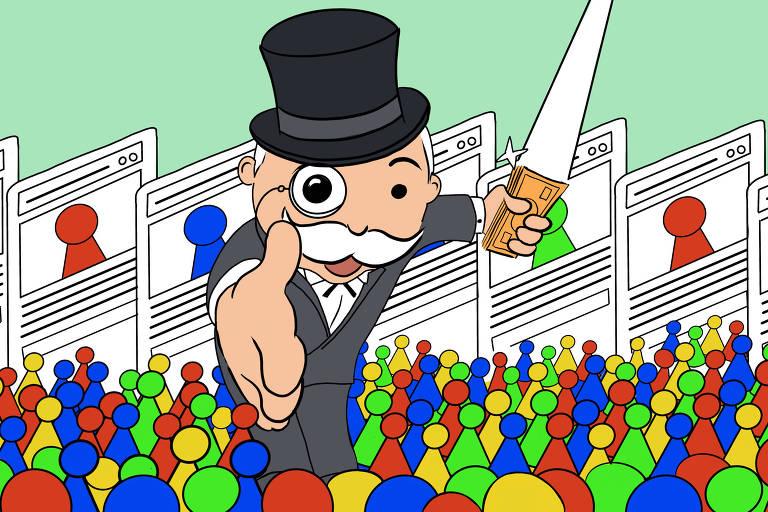 Ilustração mostra uma multidão de pinos de jogos de tabuleiro (vermelhos, verdes, azuis e amarelos). Entre eles, um homem branco gigante, de bigode branco, cartola e monóculo. Ele segura notas de dinheiro. Ao fundo, cartas com informações sobre os pinos.