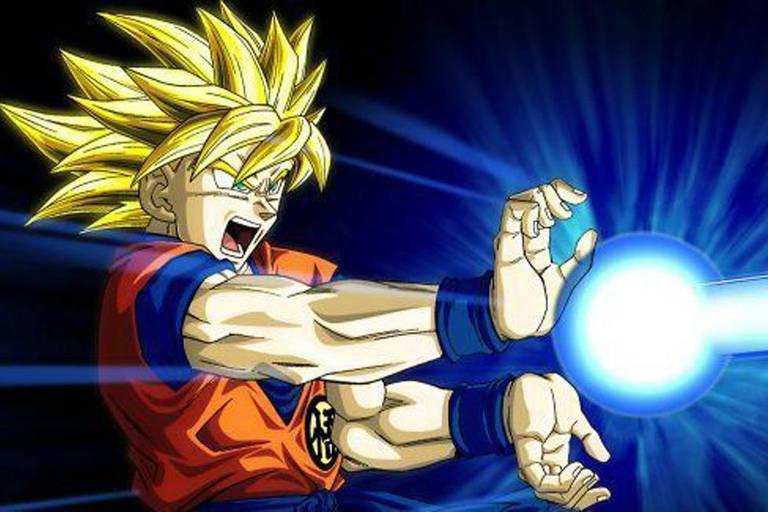 Personagem faz o golpe 'kamehameha' na série Dragon Ball