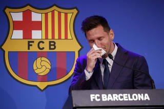Lionel Messi holds an FC Barcelona press conference