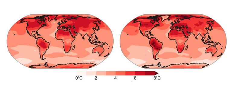 Dois mapa-múndi em tons de vermelho