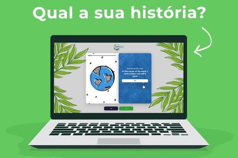 card verde escrito Qual a sua história, logo abaixo um computador e mais abaixo escrito o relatório do povo e uma hashtag