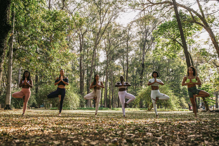 Em um gramado, seis mulheres negras estão em pé fazendo uma posição de ioga. Ao redor, há vegetação.