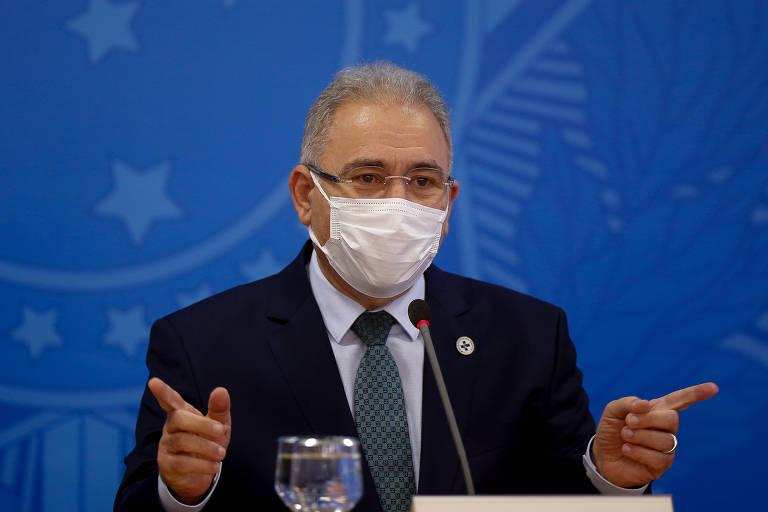 O ministro da Saúde, Marcelo Queiroga, durante entrevista coletiva no Palácio do Planalto