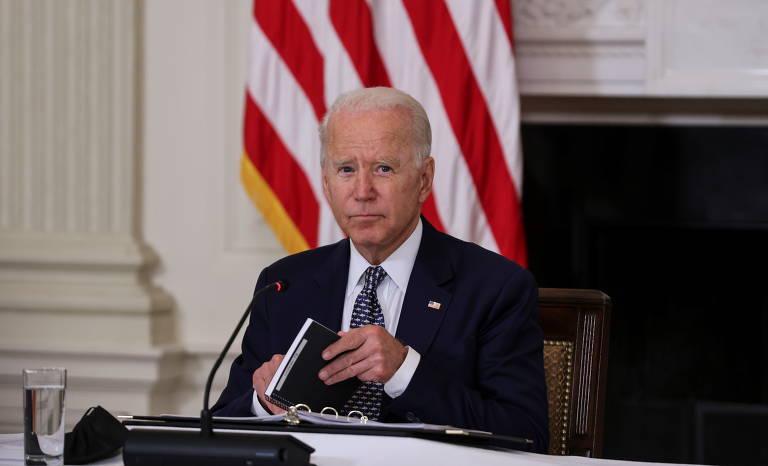 Joe Biden, presidente dos EUA; ao menos oito mulheres o acusam de tê-las beijado, abraçado ou tocado de maneiras que as deixaram incomodadas
