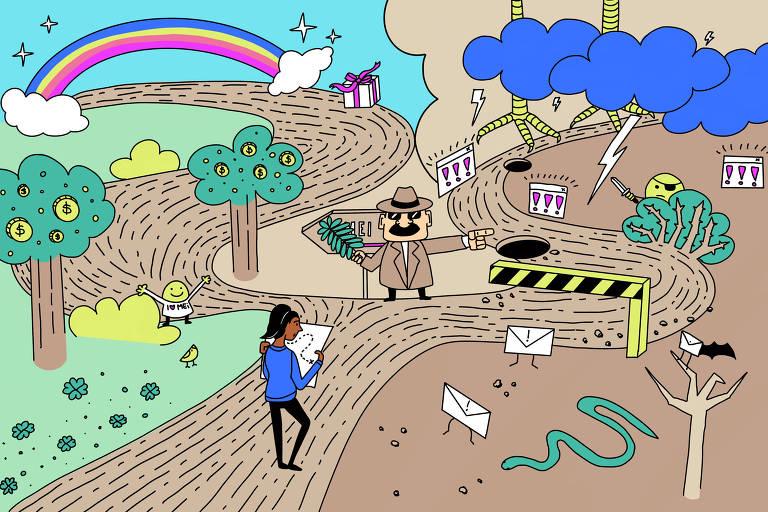 Ilustração mostra pessoa com mapa na frente de uma bifurcação: de um lado um arco-íris, com árvores cheias de moedas e trevos de quatro folha. Do outro, um pedágio leva a uma estrada de buracos, raios e janelas de internet pulando. Ao centro, um homem misterioso tampa uma placa que indica o caminho certo e aponta pro caminho errado.