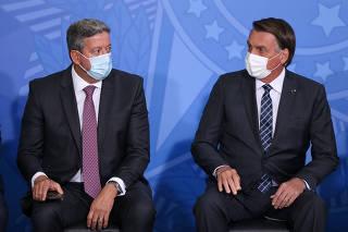 Presidente da Câmara, Arthur Lira, ao lado do presidente da República, Jair Bolsonaro