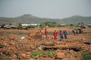 FILE PHOTO: Residents walk past Adi Harush Refugee camp in Mai Tsberi town in Tigray Region