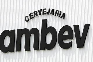 FILE PHOTO: The AmBev (Companhia de Bebidas das Americas) logo is pictured in their unit in Fortaleza