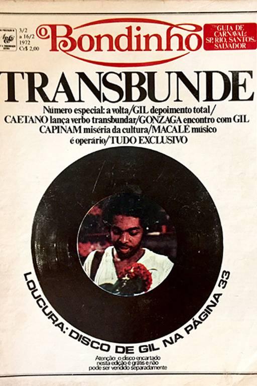 Gilberto Gil na capa da revista Bondinho, no início dos anos 1970, da qual Narciso Kalili foi um dos fundadores
