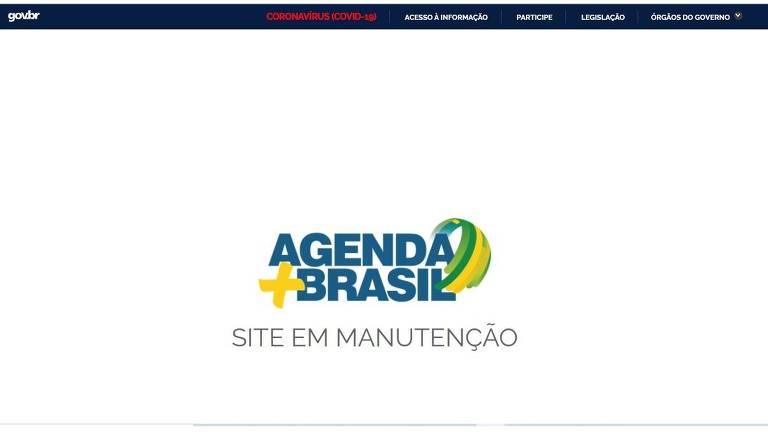 Reprodução no dia 12 de agosto de 2021 da página inicial do portal Agenda + Brasil, lançado pelo governo federal em março de 2020.