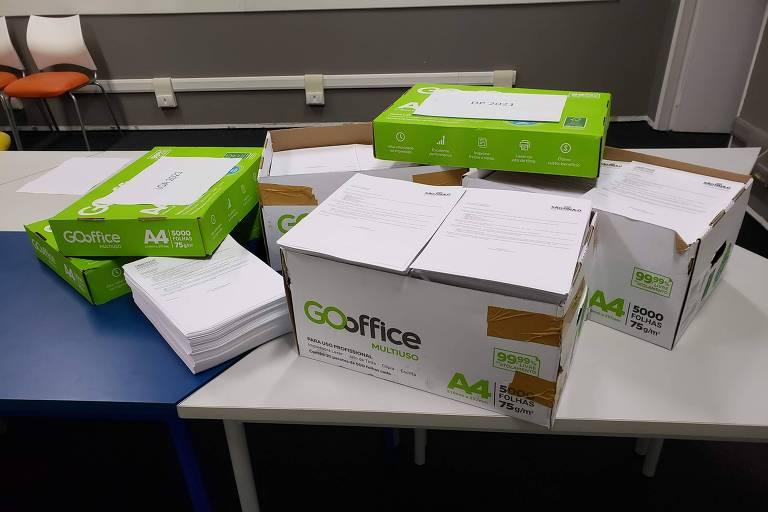 Caixas com registros de liberação de verba pelo governo Doria para deputados estaduais e federais, em 2020 e 2021, obtidas via Lei de Acesso à Informação (LAI)