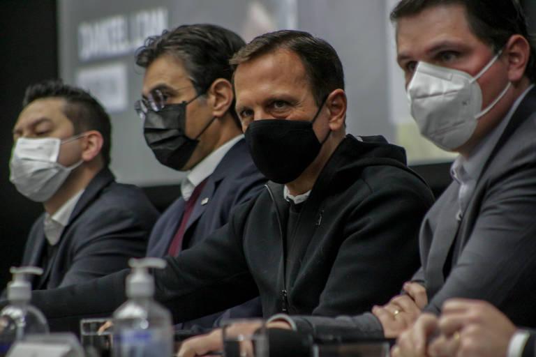 Da esq. para dir., os tucanos Marco Vinholi, Rodrigo Garcia, João Doria e Cauê Macris, responsáveis pelas liberações