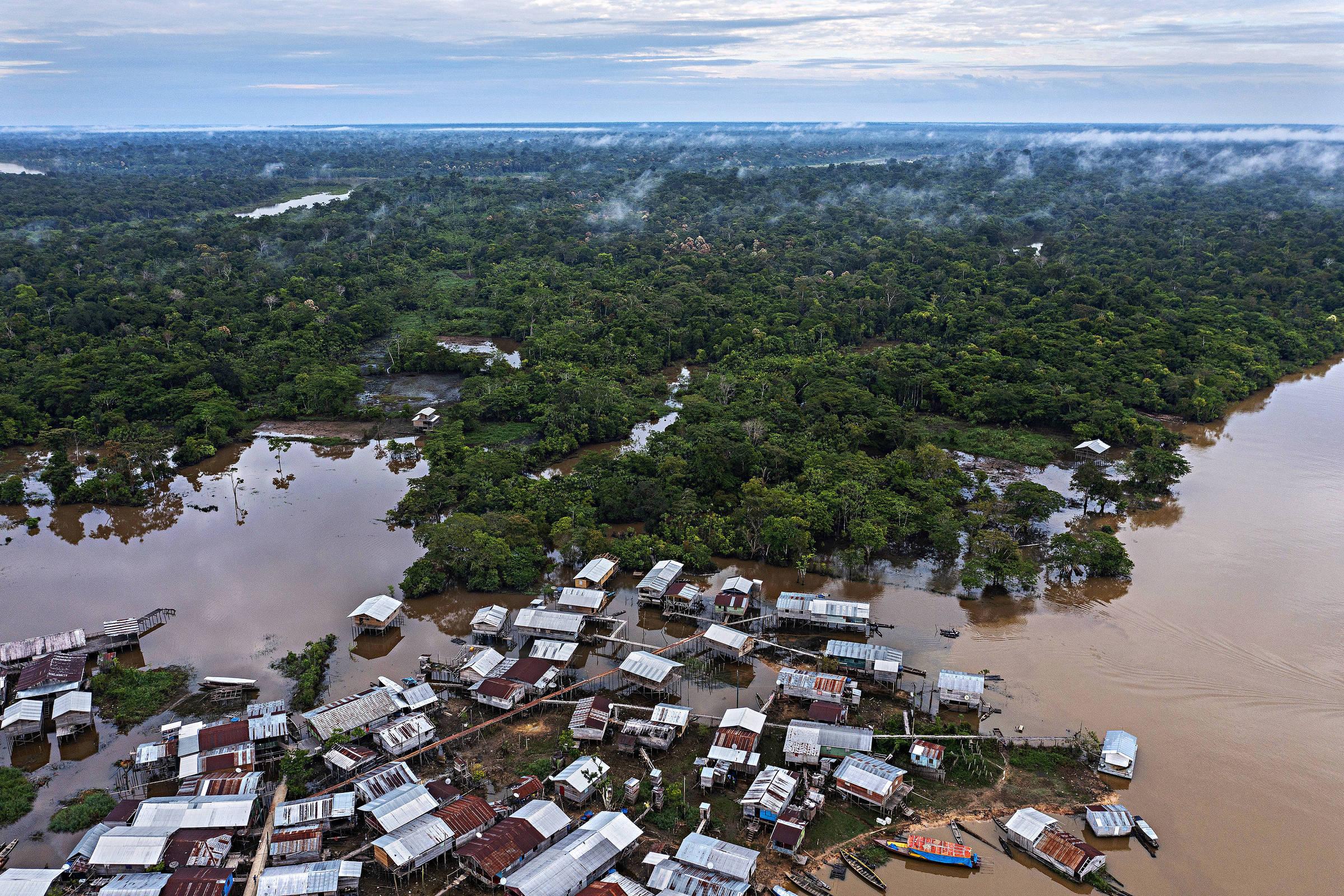 Vista aérea da cidade de Atalaia do Norte, cidade localizada no Vale do Javari, no Amazonas