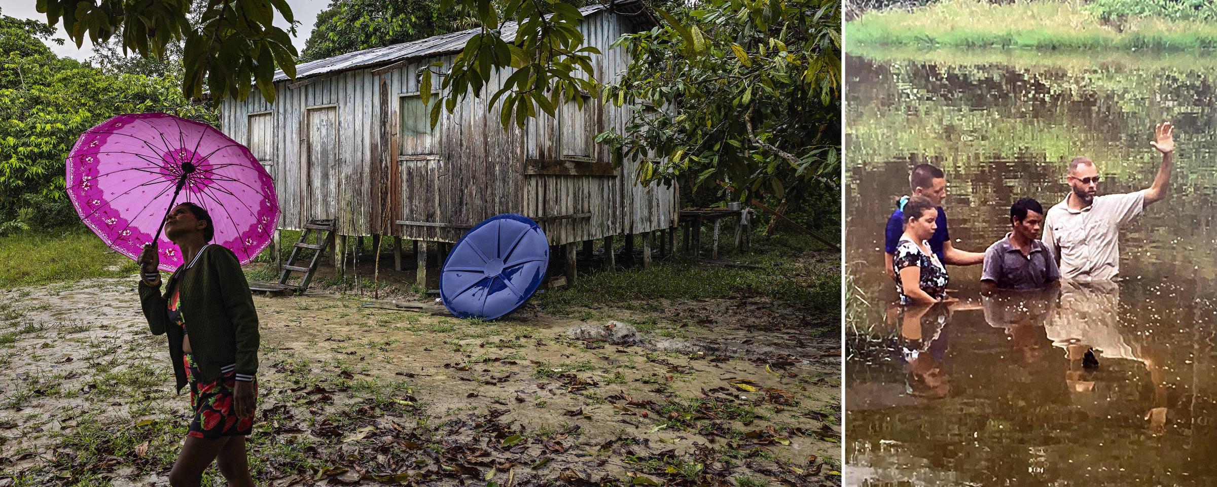 Casa onde morou o missionário Andrew Tonkin em uma comunidade ribeirinha as margens do rio Itacoai, proximo aos limites da Terra Indigena do Vale do Javari, no Amazonas. À direita, ele dentro da água