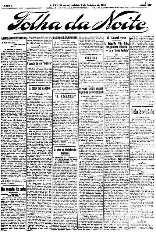 Primeira Página da Folha da Noite de 7 de outubro de 1921