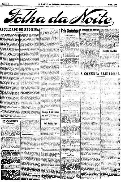 Primeira Página da Folha da Noite de 8 de outubro de 1921