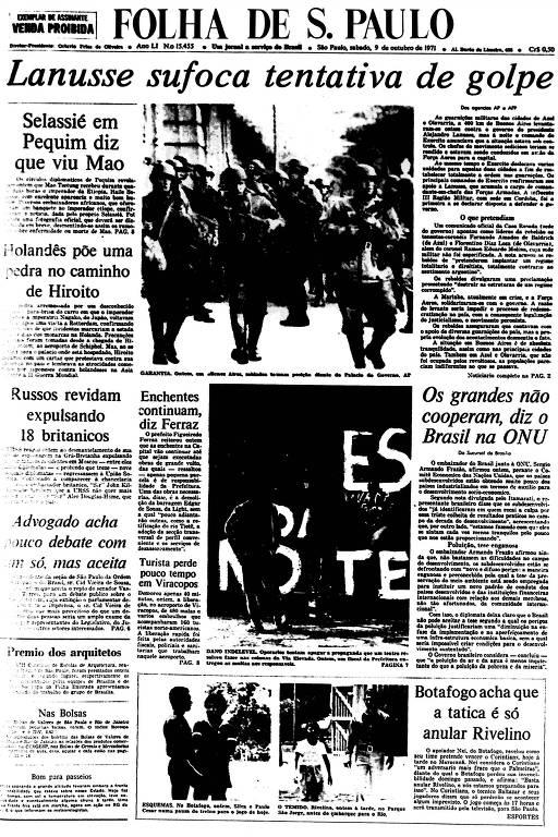 Primeira Página da Folha de 9 de outubro de 1971