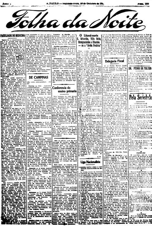 Primeira Página da Folha da Noite de 10 de outubro de 1921