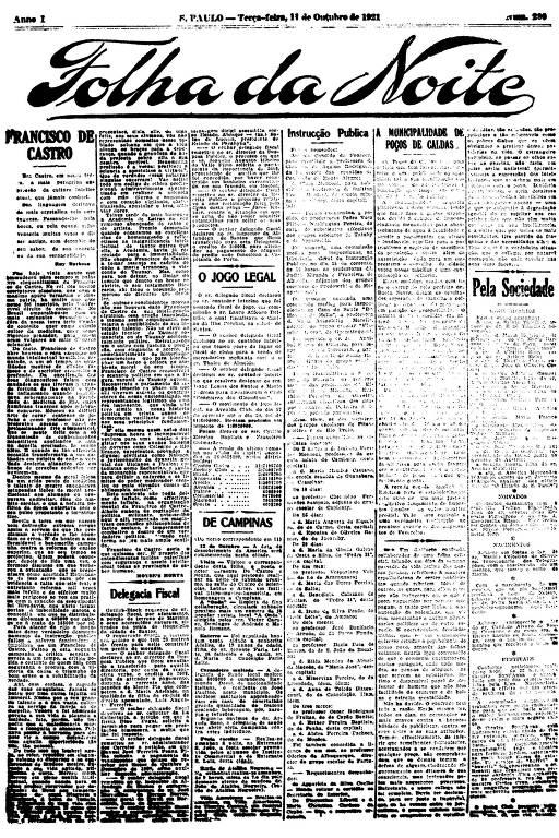 Primeira Página da Folha da Noite de 11 de outubro de 1921
