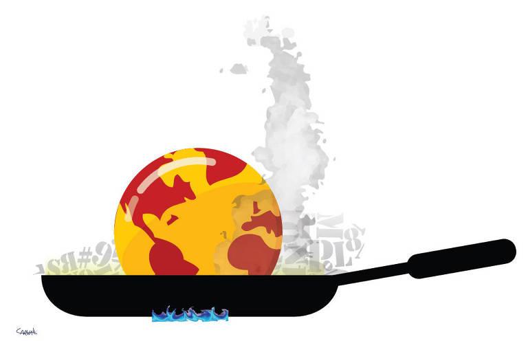 Ilustração Carvall publicada no dia 15 de agosto de 2021. Nela um globo terrestre amarelo e vermelho, esta dentro de uma frigideira que esta sobre o fogo.