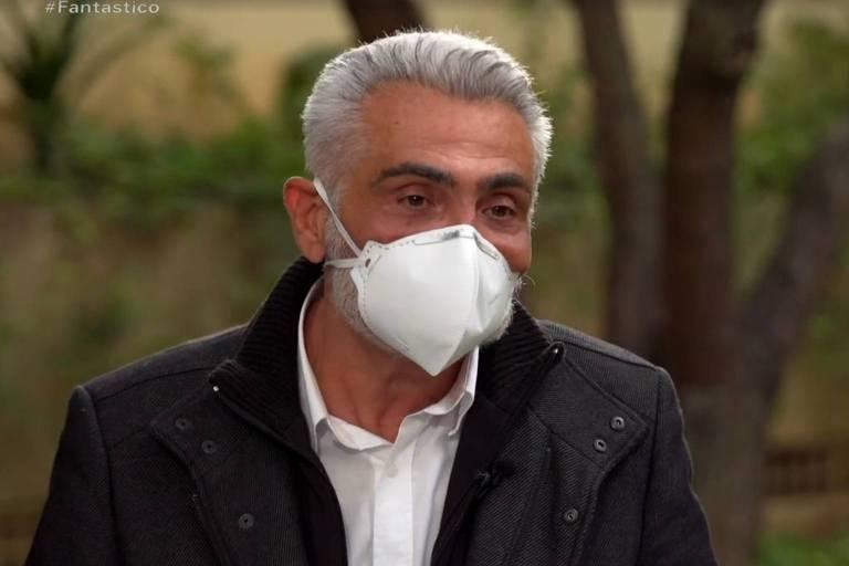 Tarcísio Filho durante entrevista ao Fantástico (Globo) sobre a morte do pai, Tarcísio Meira