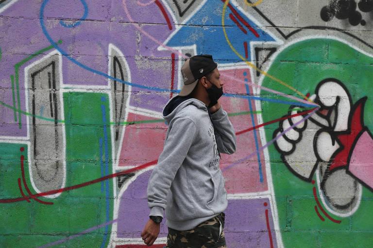 Proteção contra a Covid, máscara não é usada corretamente em São Paulo