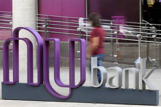 FILE PHOTO: The logo of Nubank, a Brazilian FinTech startup, is pictured at the bank's headquarters in Sao Paulo