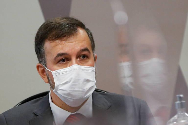 O auditor do TCU Alexandre Figueiredo Costa Silva Marques durante depoimento à CPI da Covid no Senado