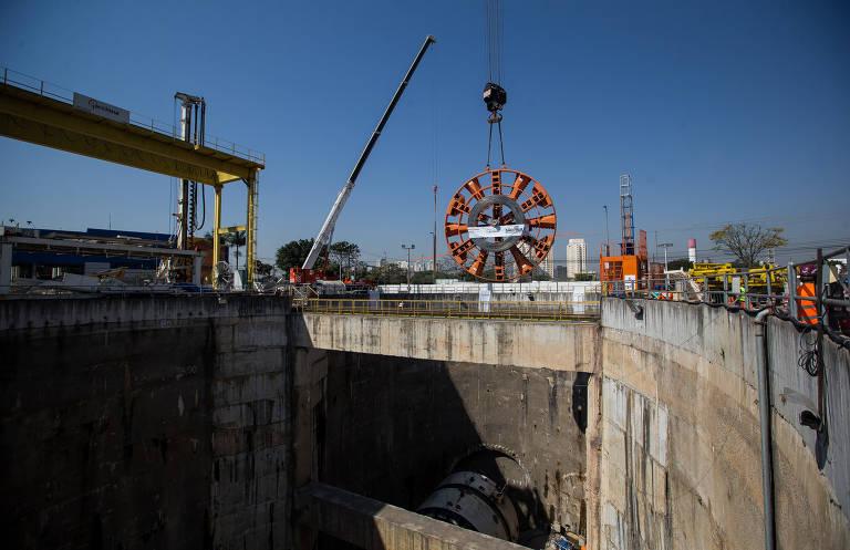 Tatuzão começa a ser montado para obra da linha 6-laranja do metrô de SP, atrasada há 8 anos