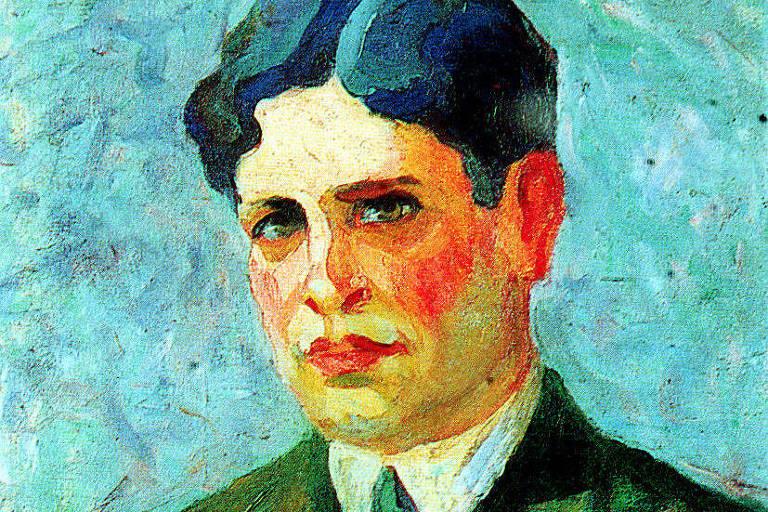 quadro com retrato de homem pintado com tons vibrantes de azul, verde e amarelo