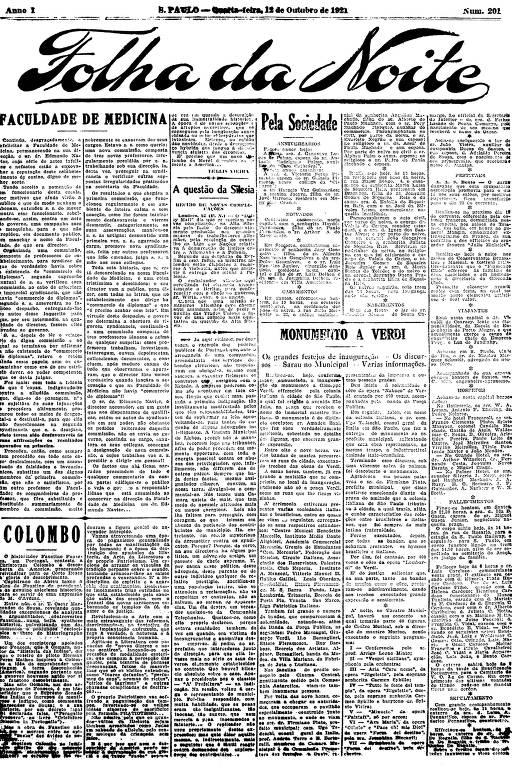 Primeira Página da Folha da Noite de 12 de outubro de 1921
