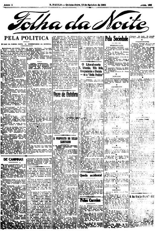 Primeira Página da Folha da Noite de 13 de outubro de 1921