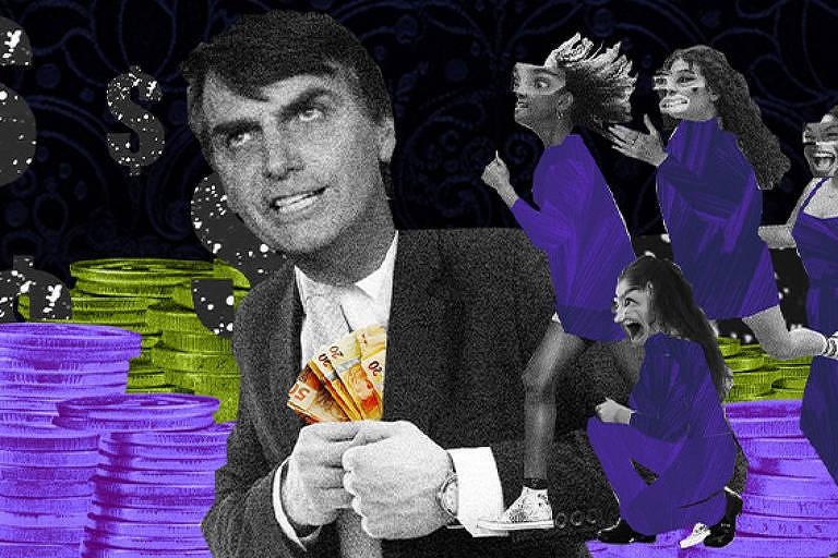 Ilustração trás imagem do presidente Jair Bolsonaro colocando dinheiro dentro do paletó. Ao fundo, três mulheres estão correndo e uma agachada