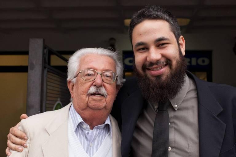 José Geraldo Ferreira de Moura Campos (1928-2021) e o afilhado Thiago Kaczuroski