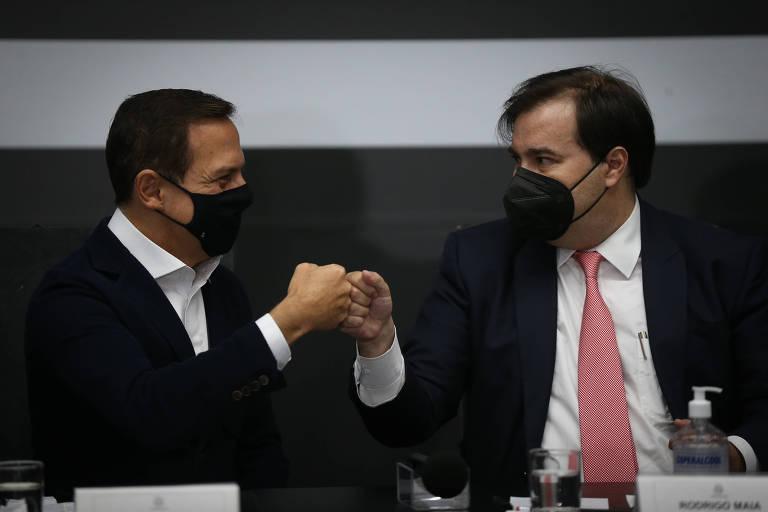 Maia toma posse no governo Doria, ironiza DEM e declara apoio ao tucano na corrida presidencial