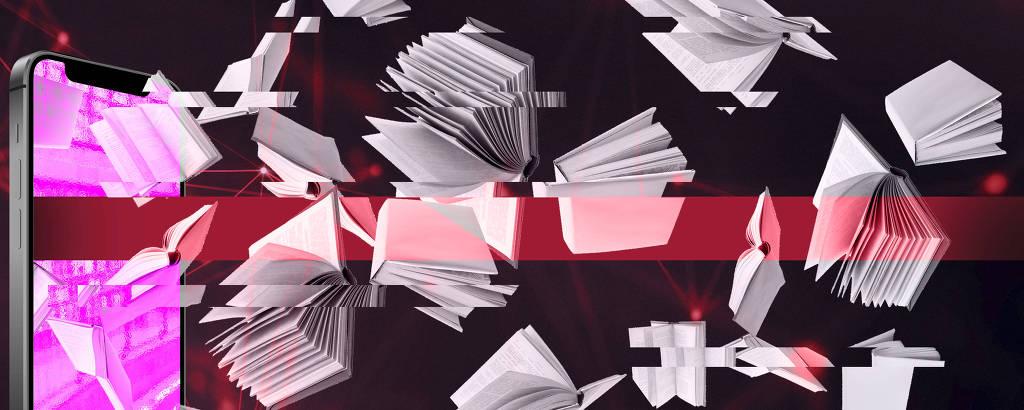 ilustração sobre audiolivros mostra livros saindo de tela de celular