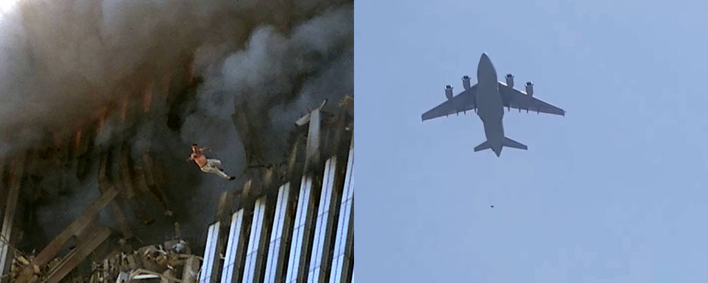 Montagem mostra fotos com homem se jogando das Torres Gêmeas no ataque de 11 de Setembro de 2001 e corpos caindo de avião que decolou do aeroporto de Cabul, em 16 de agosto de 2021, após a tomada do Talibã