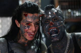 Brazilian Human Satan shows his body modifications