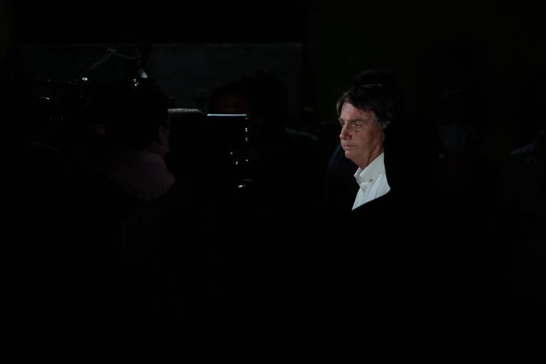 O presidente Jair Bolsonaro durante entrevista para TVs em Eldorado, interior do estado de São Paulo