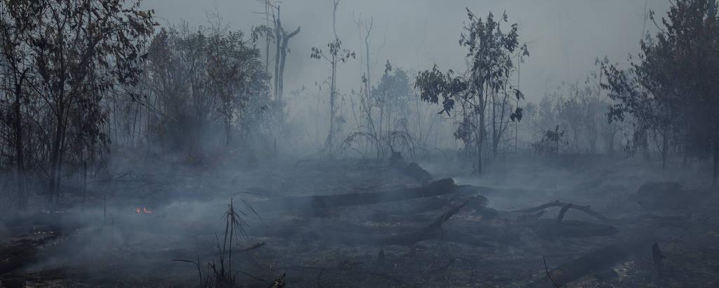 Queimada em uma área próxima a rodovia Transamazônica, na zona rural de Apui, no sul do Amazonas