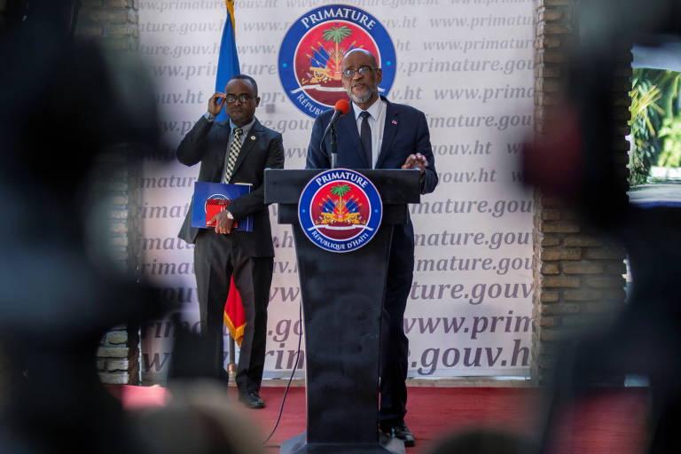 O premiê do Haiti, Ariel Henry, durante entrevista coletiva em Porto Príncipe