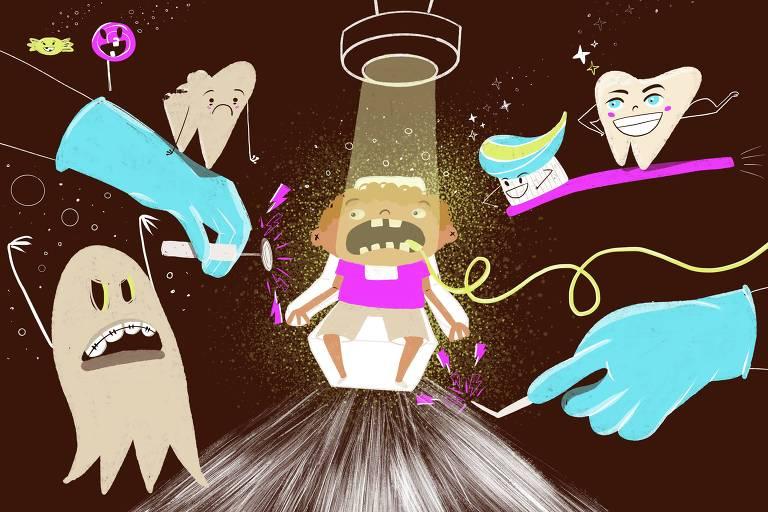 Ilustração mostra criança sentada na cadeira do dentista, com a boca aberta e os olhos arregalados. No entorno dela duas mãos segurando equipamentos odontológicos, um fantasma de aparelho, um dente saudável surfando em cima de uma escova, um dente careado triste com balas e pirulitos em volta.