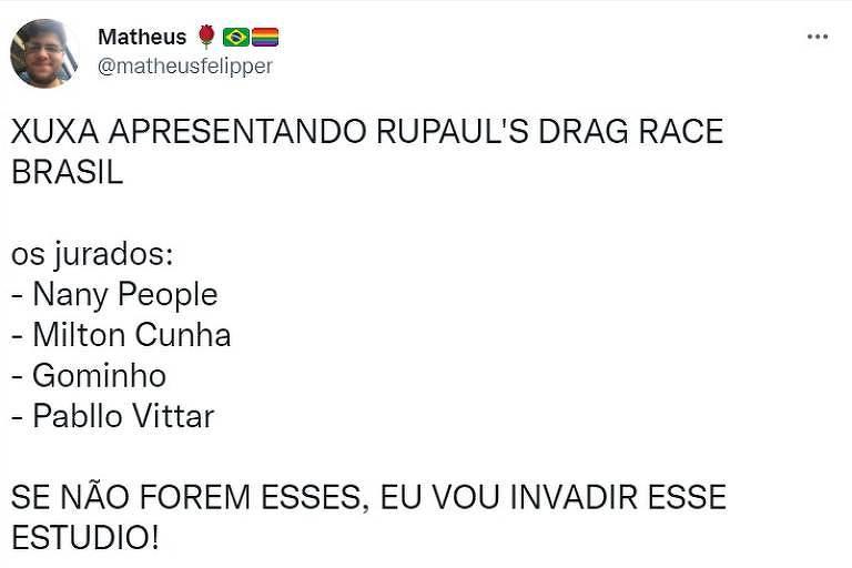 Reprodução de tweet de Matheus Rosa