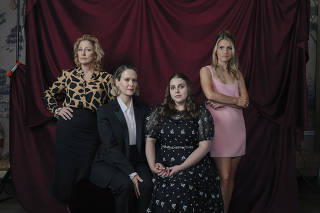 From left, Edie Falco, Sarah Paulson, Beanie Feldstein, and Annaleigh Ashford, who star in ÒImpeachment: American Crime Story,Ó in New York, July 26, 2021. (Celeste Sloman/The New York Times)