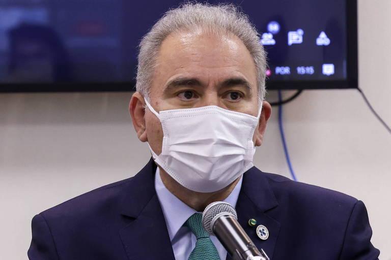 O Ministro da Saúde, Marcelo Queiroga, durante 8ª assembleia do Conselho Nacional dos Secretários de Saúde