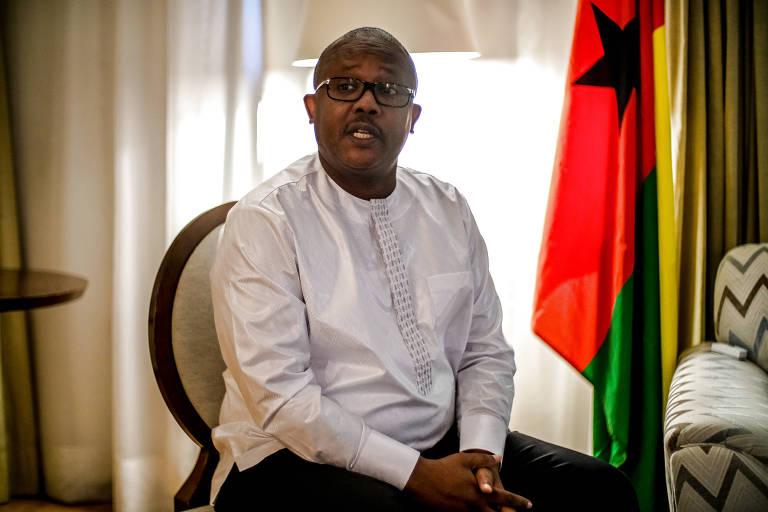 Presidente da Guiné-Bissau, Umaro Sissoco Embaló, durante entrevista em hotel em Brasília