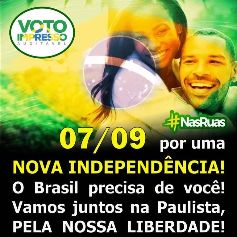 Convocação de apoiadores de Bolsonaro para o 7 de Setembro