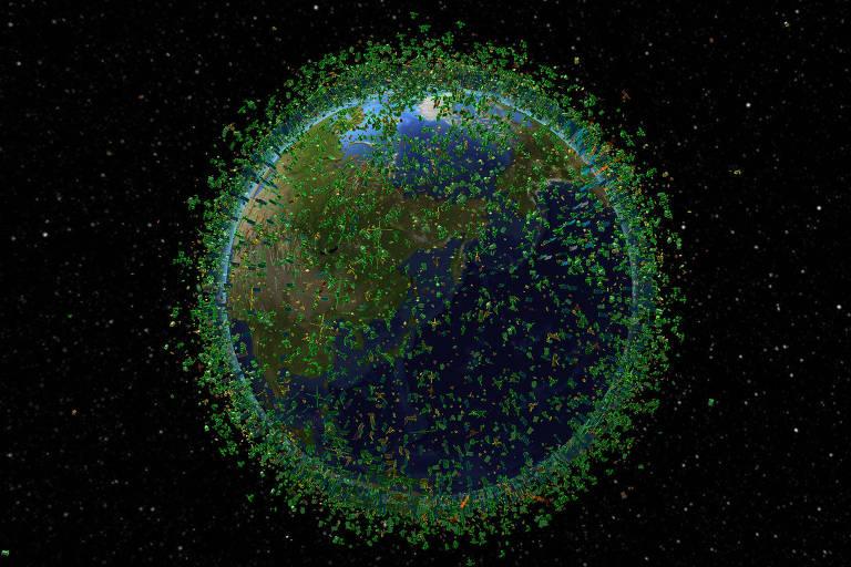 Captura de imagem da empresa LeoLabs, que rastreia mais de 20 mil objetos na órbita baixa, a menos de 2 mil km de altitude