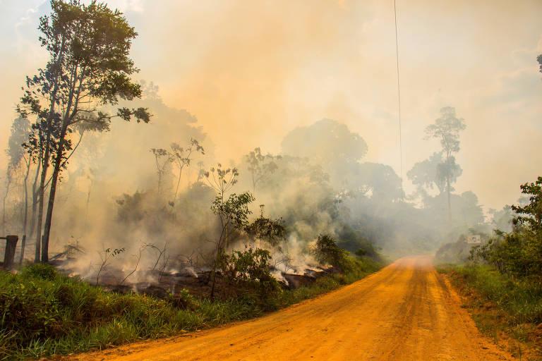 Fogo e fumaça dentro da Resex Chico Mendes, em Xapuri, em 2019