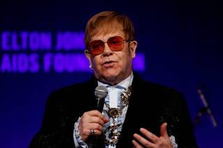 FILE PHOTO: Elton John speaks during the Elton John AIDS Foundation's Gala in New York City,